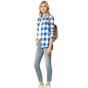 Madewell flannel blue and white check button down
